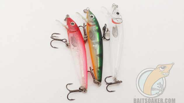 Translucent Rapala Husky Jerk lures in pink, perch, and glass minnow colors.